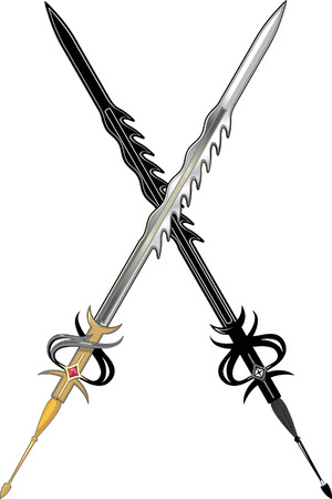 Two long sword. Black and colored Vector