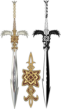 Two winged sword. Black and colored Vector