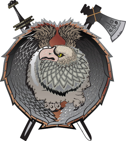 war decoration: Shield with griffins, (mystical creature)