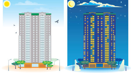 immovable property: Multistoried House. Day and Night