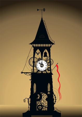 Grunge Watch Tower Vector