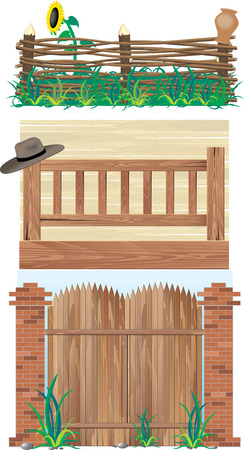 Fences. Brick, wood and wicker
