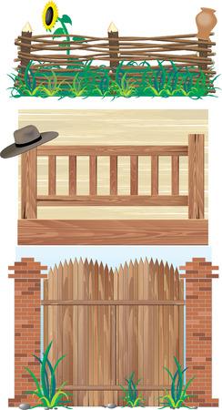 Clôtures. La brique, du bois et l'osier