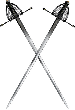 two crossed ornate rapiers Vector
