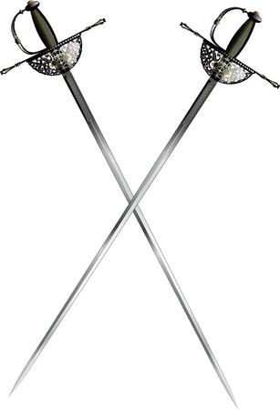 two crossed ornate saber