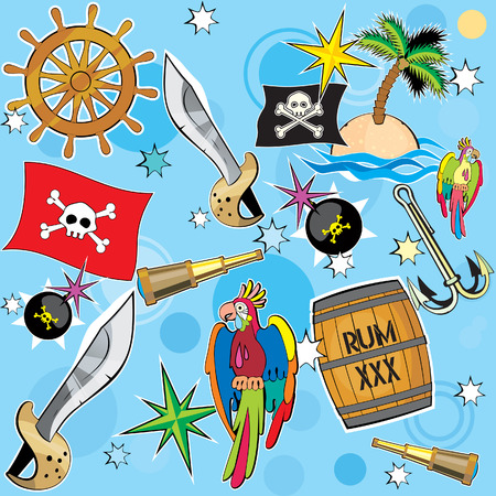 robbery: Vector Pirate background Illustration