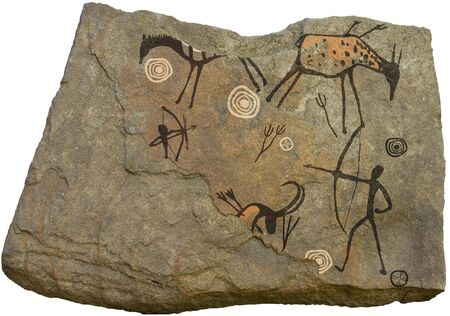 pintura rupestre: Figura da�ado en la roca sobre un fondo blanco