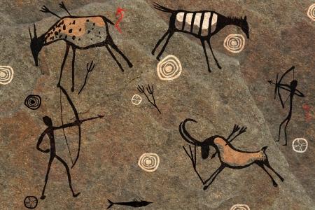 pintura rupestre: sobre la base de una roca en pantalla completa Foto de archivo