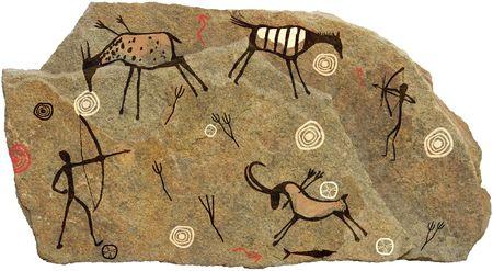 pintura rupestre: Foto en la piedra sobre un fondo blanco Foto de archivo