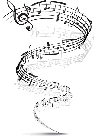 music notes twisted into a spiral Vector