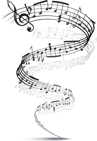 musical note: note musicali intrecciati in una spirale Vettoriali
