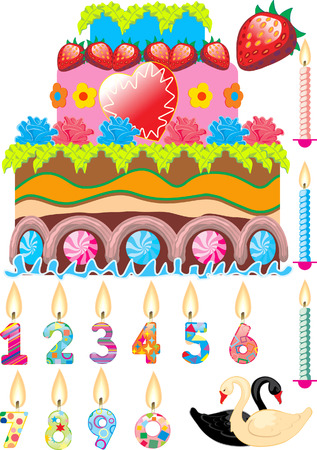 celebratory cake with different candles Vector