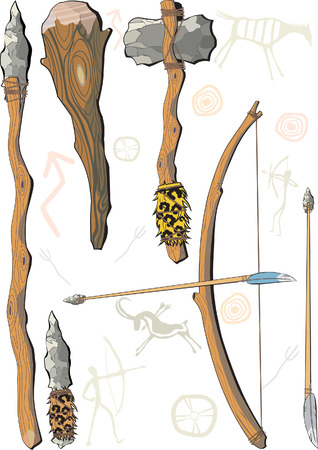 stone age: A set of weapon prehistoric man Illustration