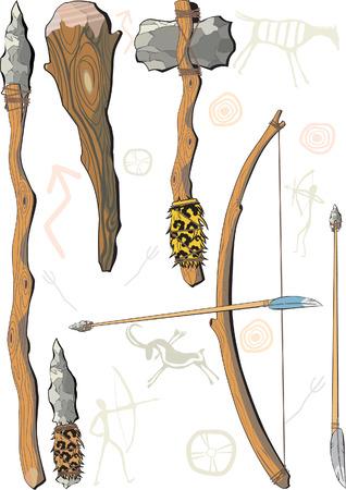 stein schwarz: Eine Reihe von pr�historischen Menschen Waffe