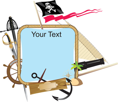decorative Pirate frame with a place for text Stock Vector - 5431485
