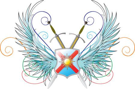 crossed swords: emblemas de vectores. Las alas, el escudo y espadas cruzadas Vectores
