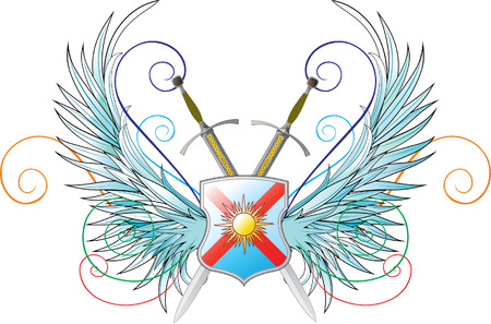 vector emblems. Wings, shield and crossed swords Stock Vector - 5444632