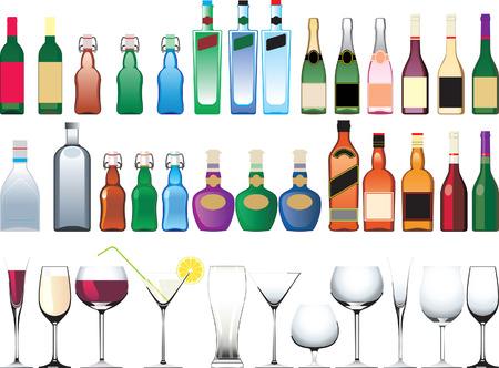 alcool: Diff�rentes bouteilles, des tasses et des verres Illustration