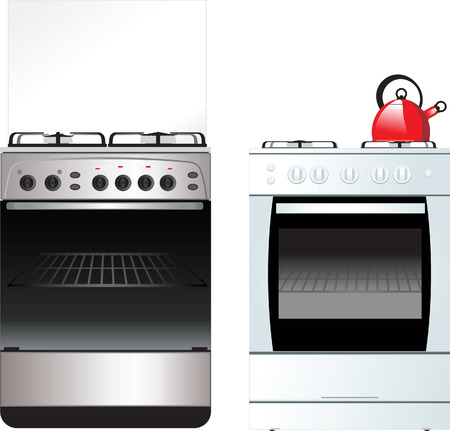 different Kitchen Stove isolated on white Vector Illustration