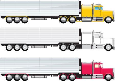 lorries: Vista laterale di un grosso camion di colore e bn su una con