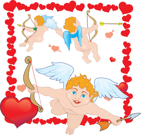 Three Cupid in the frame of hearts Vector