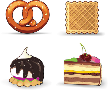 An isolated view of buns, pastries, and cakes on a white background Stock Vector - 6123821