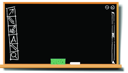 chalk writing: vector illustration of a vintage blackboard with funny desctop