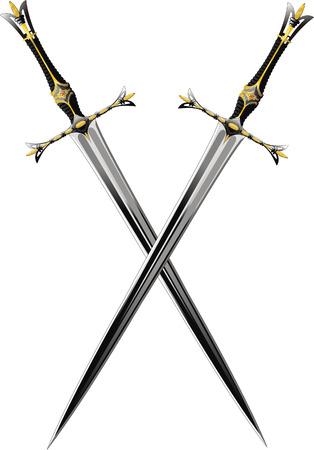 two crossed sword ornate steel swords