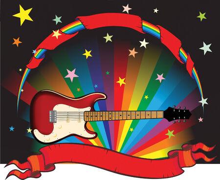 resonancia: guitarra de arco iris con estrellas y banner Vectores