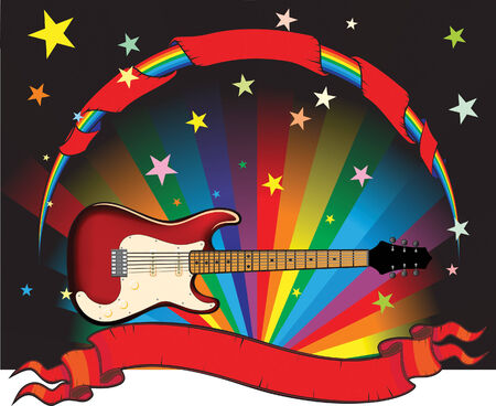 accords: rainbow guitar with stars and banner Illustration