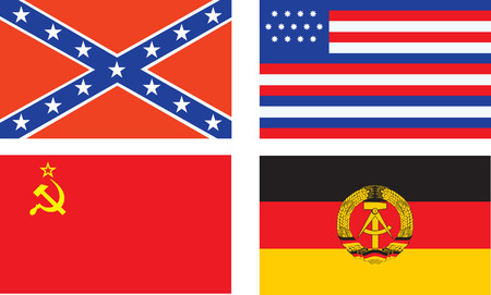 vector Confederate, old USA, USSR, and DDR flags Vector