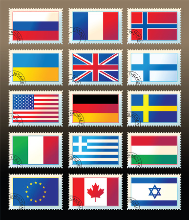 several stamps with state flags Stock Vector - 6305575