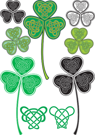 celtic pattern: No gradient Vector leaf clover with stylized Celtic pattern