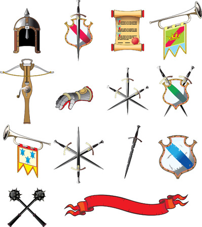 Medieval weapon icon set isolated on white Vectores