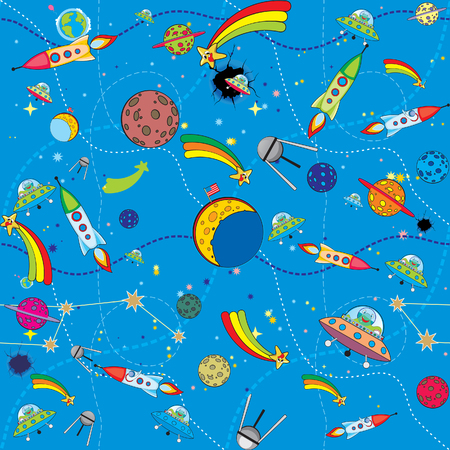 similar space background with rockets and planets Illustration
