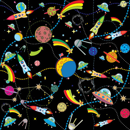 cartoon globe: similar black space background with rockets and planets  Illustration