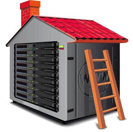 centre d affaires: Rack de serveur Web con�u comme une maison avec un toit.