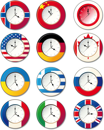 Watch, at which the flags of some countries Stock Vector - 6764919