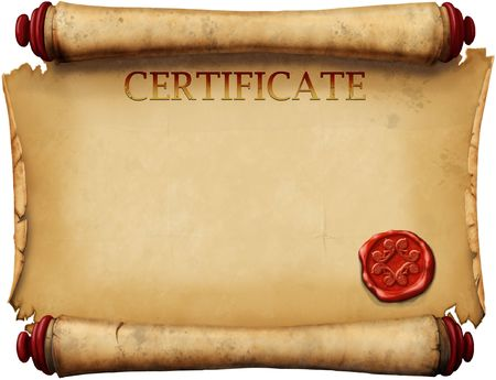 medieval scroll: old form certificates with wax stamp