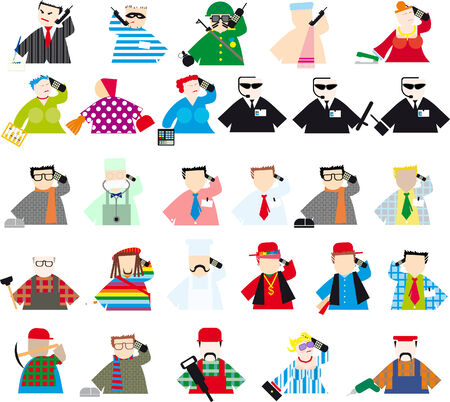 set of colored people of different professions with phones Stock Vector - 6978735