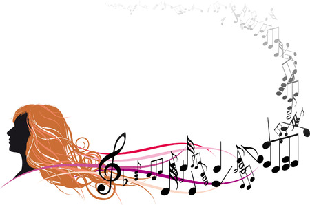 Girl Face with Music notes Vector