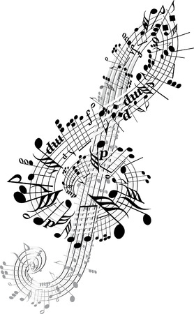 Music notes twisted into Clef Illustration