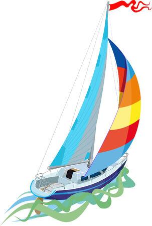 deportes nauticos: Navegando en barco de vela vista desde la popa