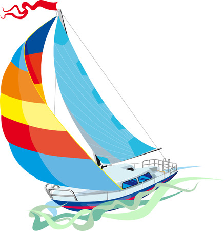 sailing vessel: Sailing in sail yacht. Front view Illustration