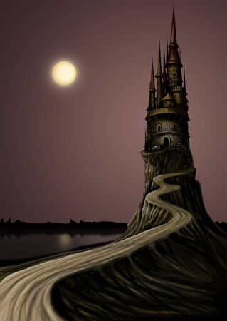 fortified: Night landscape. High Tample and the Moon, a lot of empty space for text Stock Photo