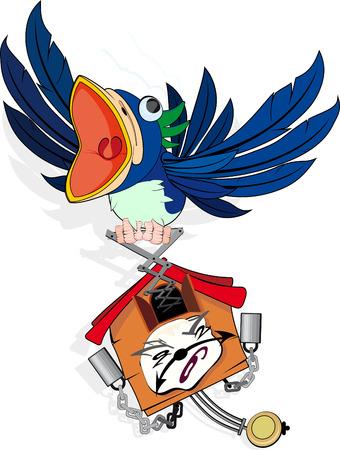 wall clock: Mad, Funny Cuckoo wall Clock  Illustration