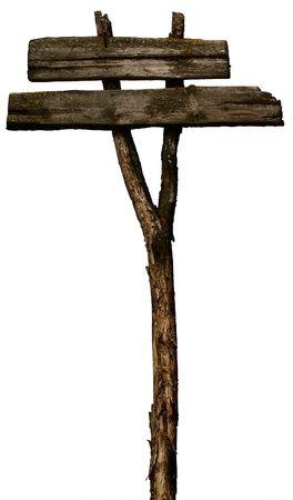 arrow wood: Antigua, madera, poste indicador en blanco aislado en blanco