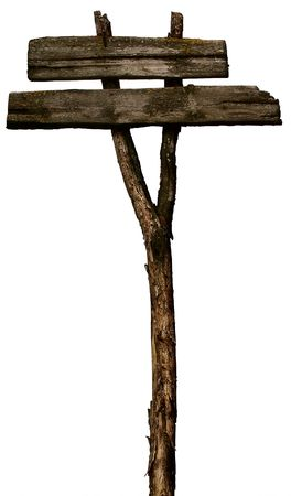 Old, Wooden, Blank signpost Isolated on White Stock Photo