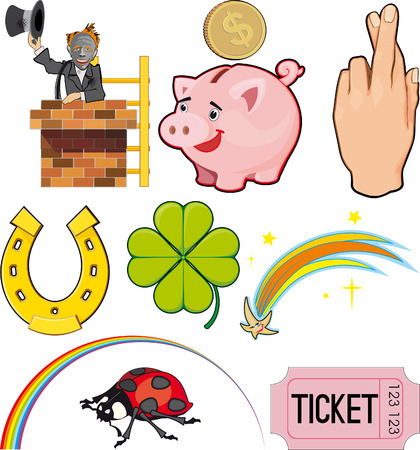 Magical objects and objects of good Luck. Icon set Stock Vector - 7417897