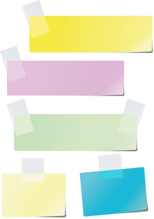 A set of colored paper glued to the recording tape Vectores